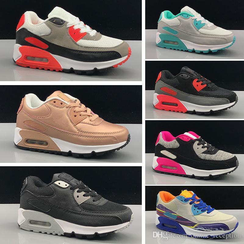 Nike Air Max 90 Chaussures Décontractées pour Enfants Presto 90 II Chaussures Décontractées Enfants Noir et Blanc Baby Infant Sneaker
