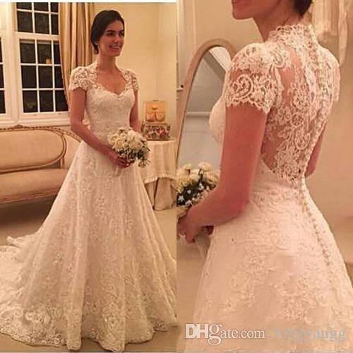 Vintage Sweetheart A Line Lace Appliques Wedding Dresses With Short Sleeves Sweep Train Bridal Gowns White Ivory Bridal Wedding Gowns