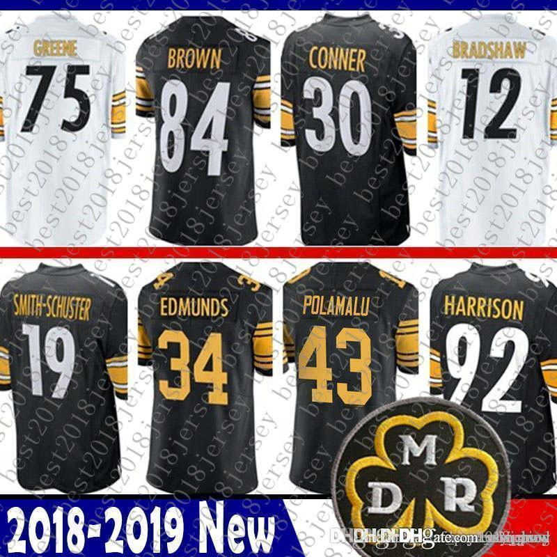 various colors a76c3 0e438 Pittsburgh 34 Terrell Edmunds Steelers Jersey 58 Jack Lambert 30 James  Conner 43 Troy Polamalu 92 James Harrison 75 Greene 12 Bradshaw