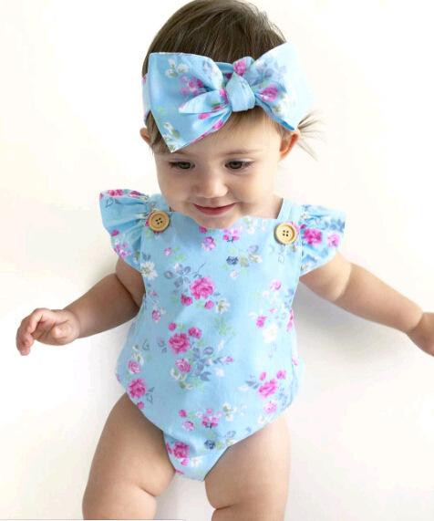 2019 Summer girls baby blue big flower jumpsuit + Fascia per bambina con cinturino con bottone 0-4 anni