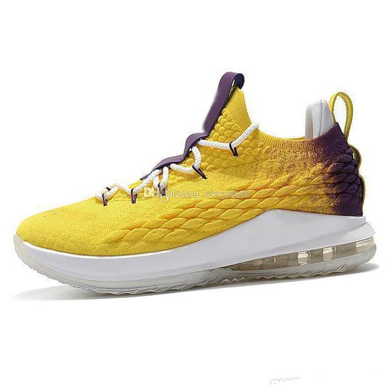 the latest 6d295 ca078 Cheap mens lebron 15 low basketball shoes for sale Yellow Gold Purple  outdoor sports sneakers shoes