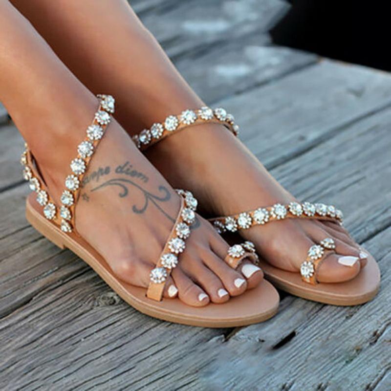 71217104c4 Estate 2019 Sandali da donna gladiatore cristallo scarpe da donna sandali  piatti da spiaggia infradito da donna Pantofole fondo in gomma Plus Size