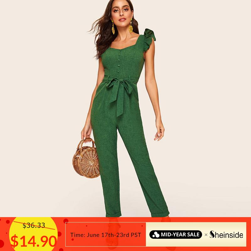 Sheinside Vintage Mid Waist Belted Jumpsuit Women 2019 Spring Ruffle Trim Sleeveless Jumpsuits Ladies Button Detail Jumpsuit J190626