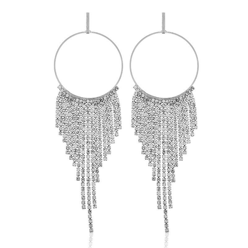 Luxury fashion and personality in Europe and the exaggeration to hollow out the circle with drill tassel earrings
