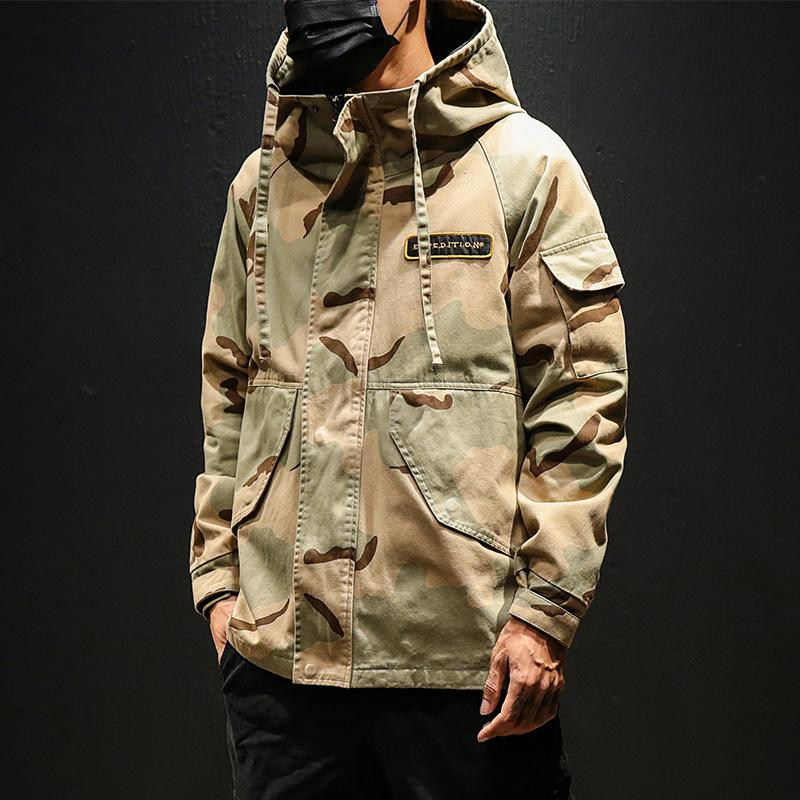 Mens Autumm Designer Camouflage Print Trench Coats Lapel Neck Long Sleeve Hat Homme Clothing Fashion Style Casual Apparel