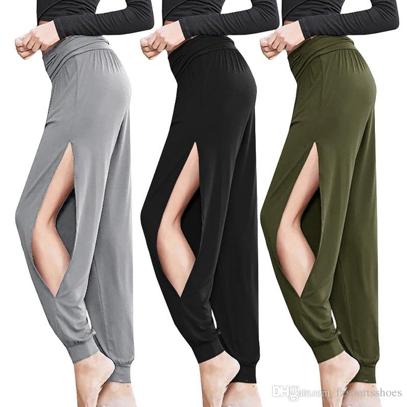 6073a0ec5f 2019 2019 New Sexy Harem Yoga Pants Black High Waist Sport Leggings Wide  Leg Loose Split Dance Overall Fitness Gym Clothing Run Pants #331682 From  ...