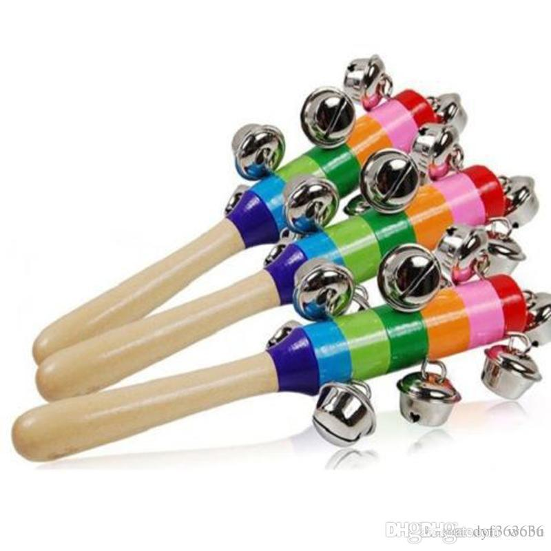 New Hot Baby Rattle Rainbow Toy Kid Pram Crib Handle Wooden Activity Bell Ring Stick Shaker Rattle Baby Gift