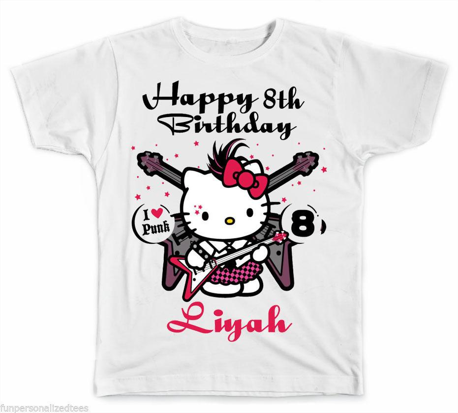 Personalized Rock And Roll Hello Kitty Birthday T Shirt Men Women