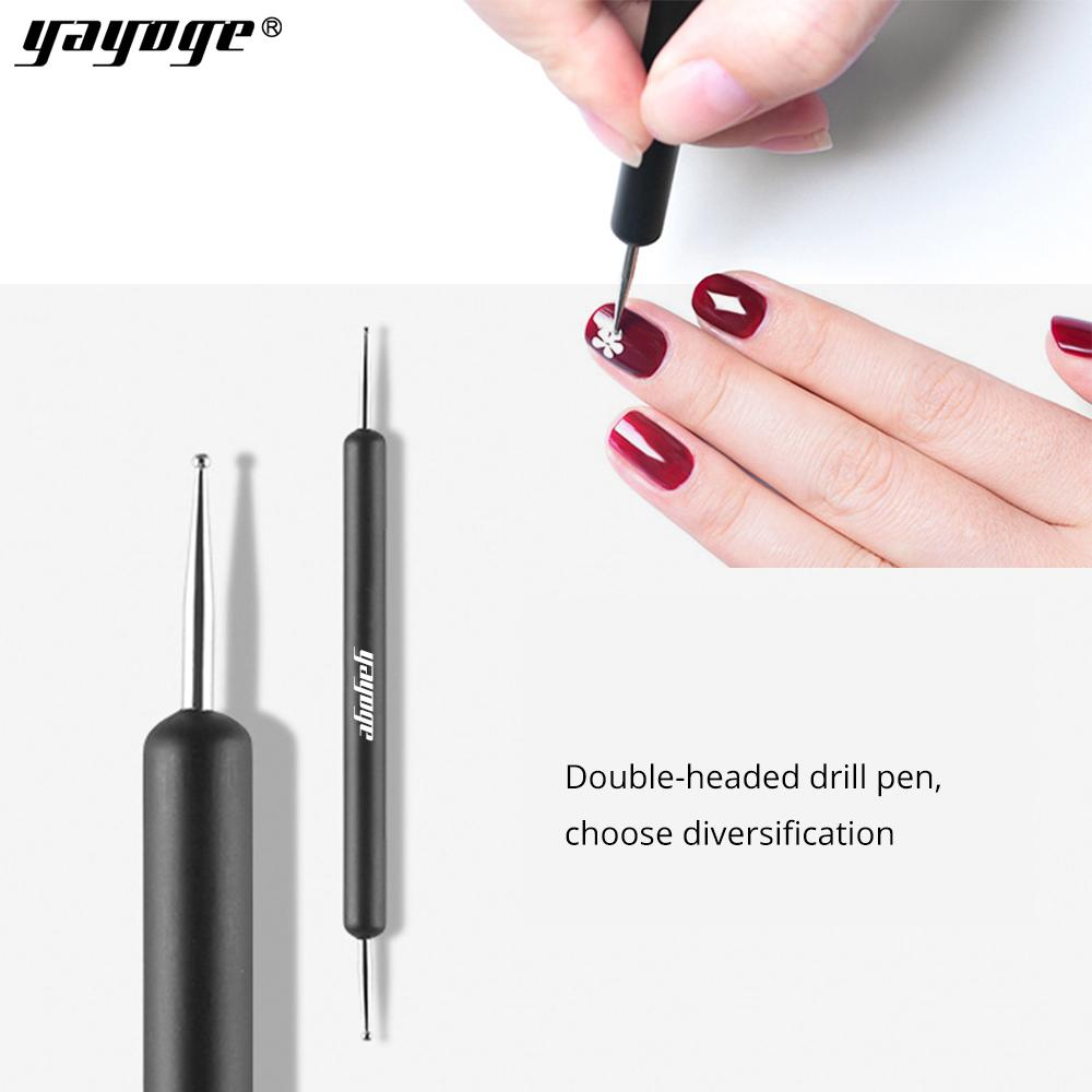 yayoge 2 Way Wooden Dotting Pen Marbleizing Stainless Steel Dotting Tools for Nail Art Design