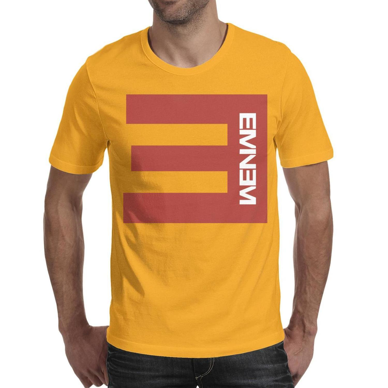 Eminem red logo men short sleeve shirts printing design t shirt 100%cotton fashion band crew neck Tops Pullover yellow