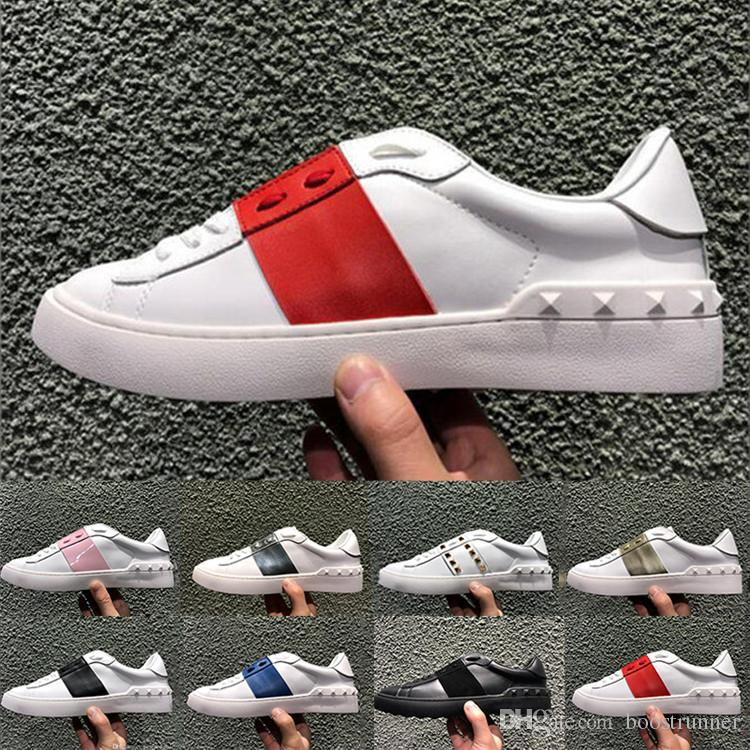 7946af0ff357 Genuine Leather Open Shoes Fashions Designer Women Men Black Splice Casual  Shoes 8 colors Low-top Sneakers Size 35-45
