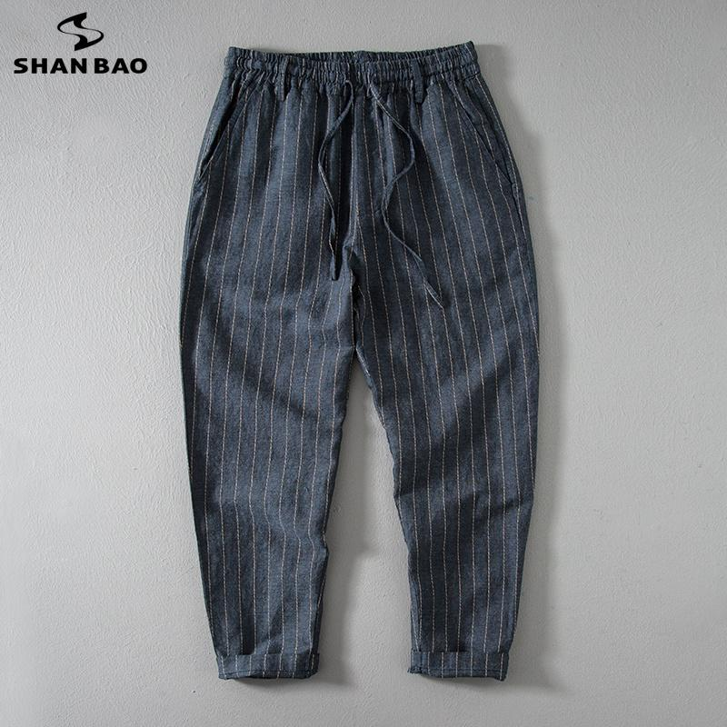 SHANBAO high quality thin cotton and linen loose breathable casual pants 2019 summer elastic waist tie large size men's pants