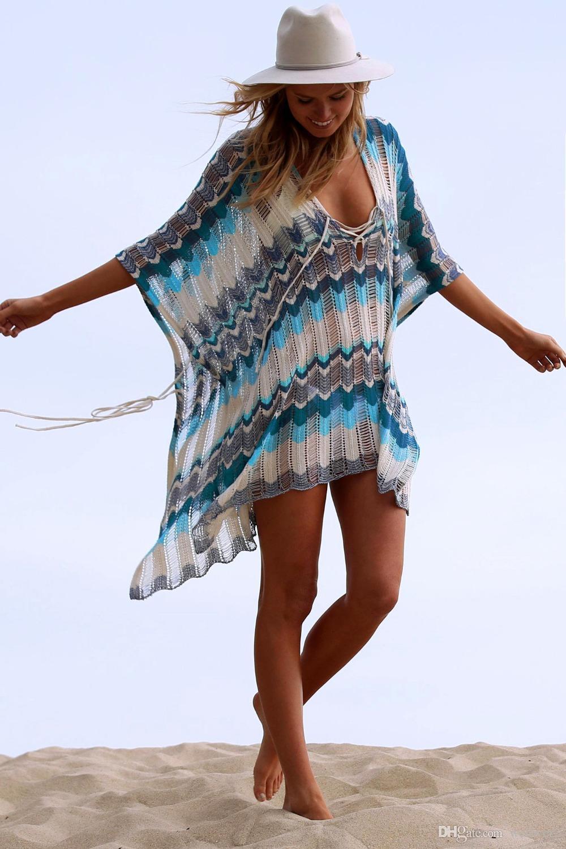 2a8278944b 2019 New Beach Cover Up Bikini Crochet Knitted Tassel Tie Beachwear Summer Swimsuit  Cover Up Sexy See Through Beach Dress ZS909 From Welover2, ...