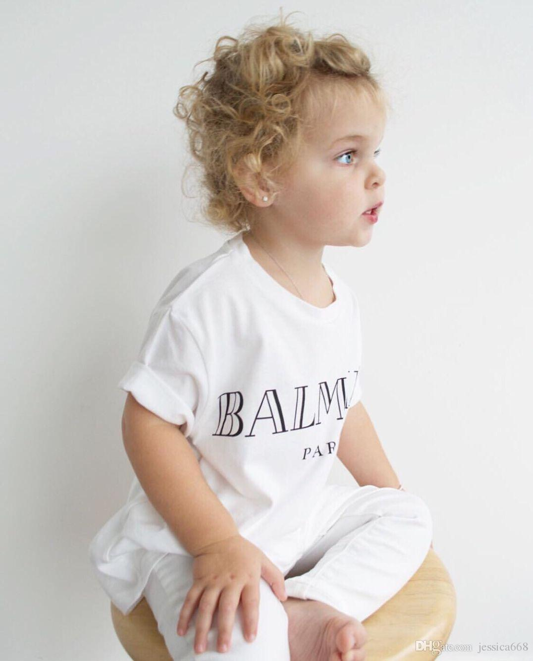 free shipping Kids Baby Boys Girls Clothing Letter Tops Short Sleeve Cotton T Shirt Casual Summer Tee T-Shirt Clothes