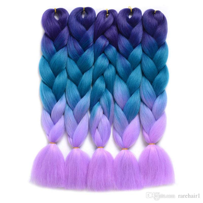 Nadir Har Uzun Ombre Kanekalon Jumbo Sentetik Örgü Saç Tığ Sarışın Pembe Mavi Gri Saç Uzantıları Jumbo Örgüler