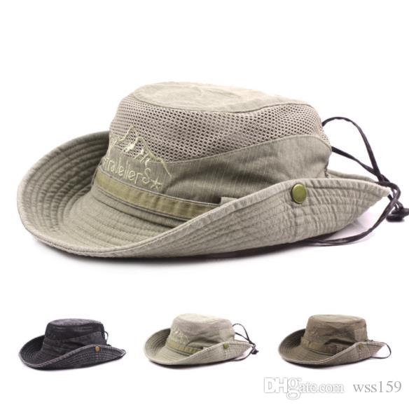 2019 Fashion Sunshade Cap Hat For Mens Embroidery Visor Summer Cap Mesh Hats  Cotton Fisherman Hat Outdoor Climbing Adjustable Caps From Wss159 cce87f086e4
