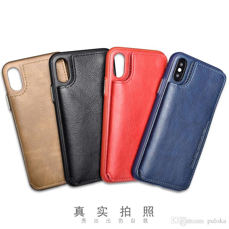 finest selection 1dac9 ac860 PULOKA Wholesale Black Red Blue Brown PU Leather Mobile Cell Phone Shell  Case Cover for Iphone