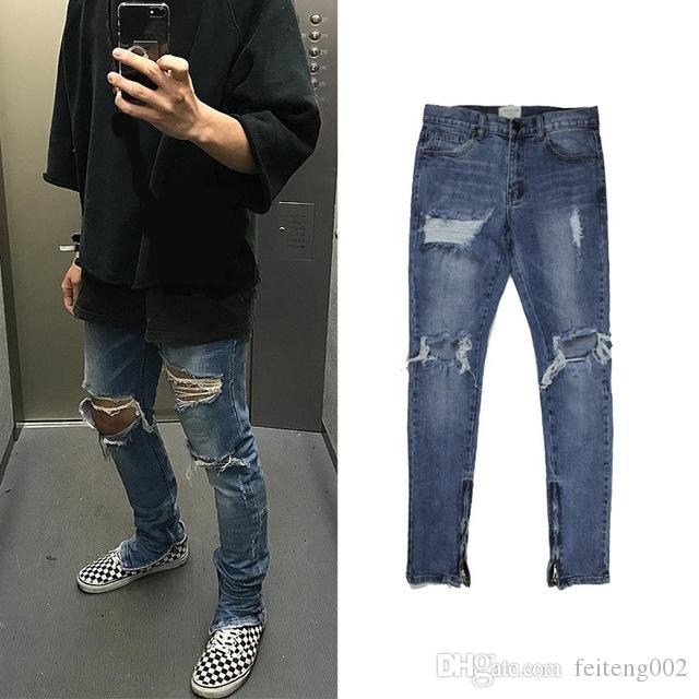 de2c92761a Compre 2018 NEW KANYE WEST Fear Of God Boots Jeans Hombres Justin Bieber  Ripped Jeans Para Hombres Parte Inferior Cremallera Lateral Skinny Jeans  Blue 30 36 ...