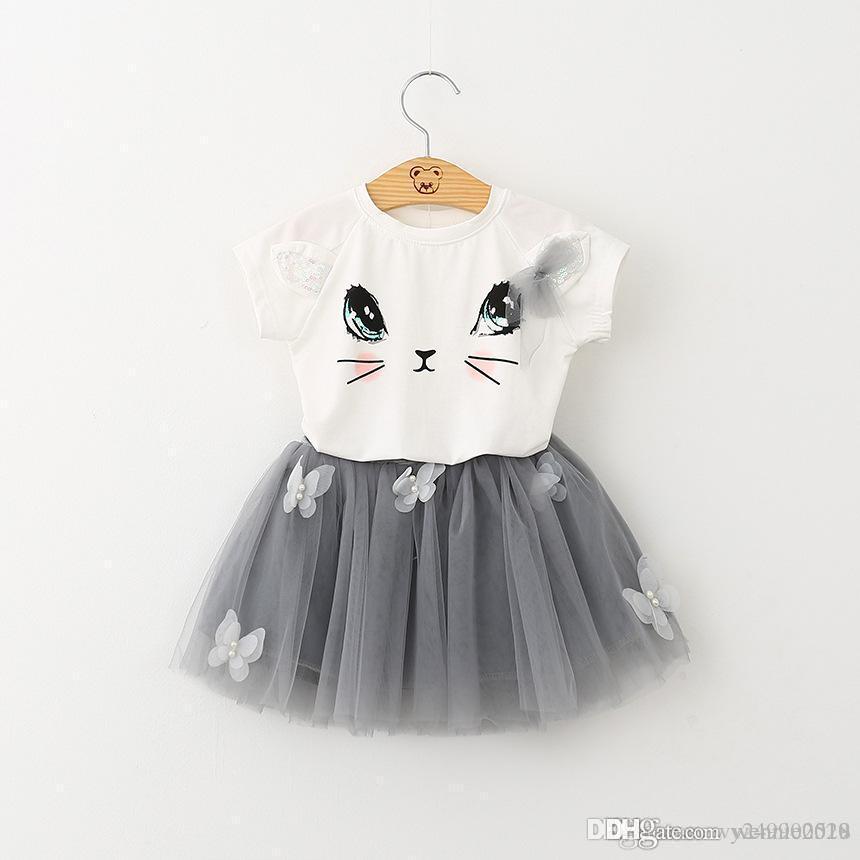 65b06272938 Children Cat T-shirt + Skirt Set Baby Two-piece Girl Wear Skirt Size ...