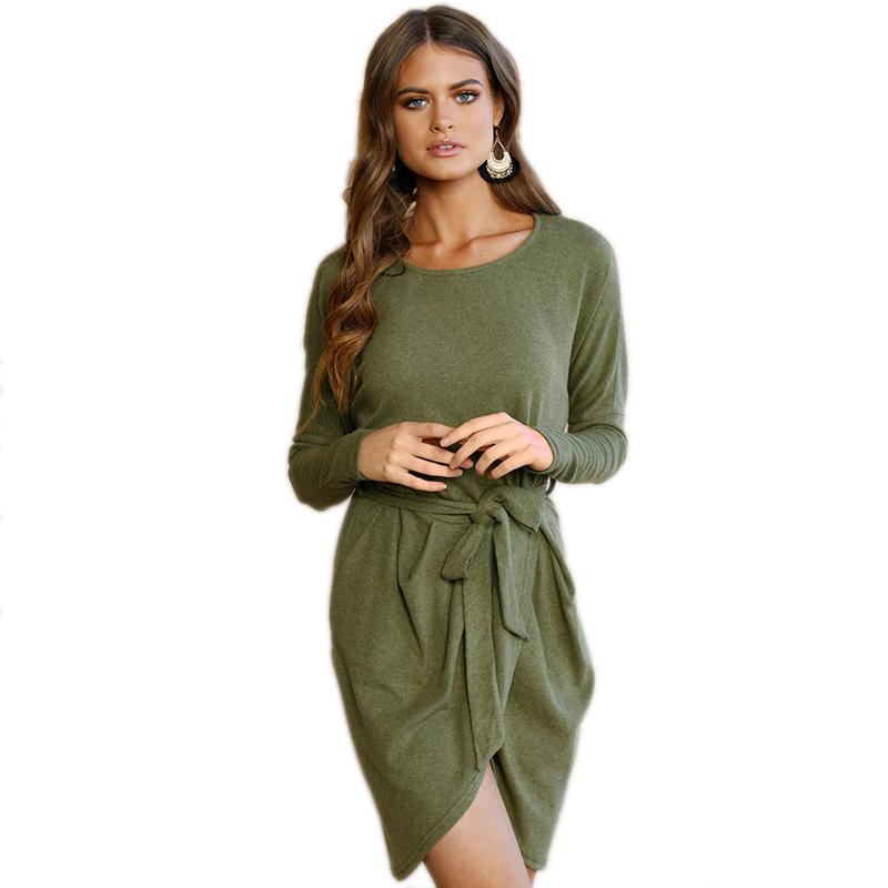 660463933d6 2019 New Autumn Women Dress Elegant Fashion Casual Long Sleeve O Neck  Asymmetrical Solid A Line Midi Dress Vestidos Robes Women In Summer Dresses  Women ...