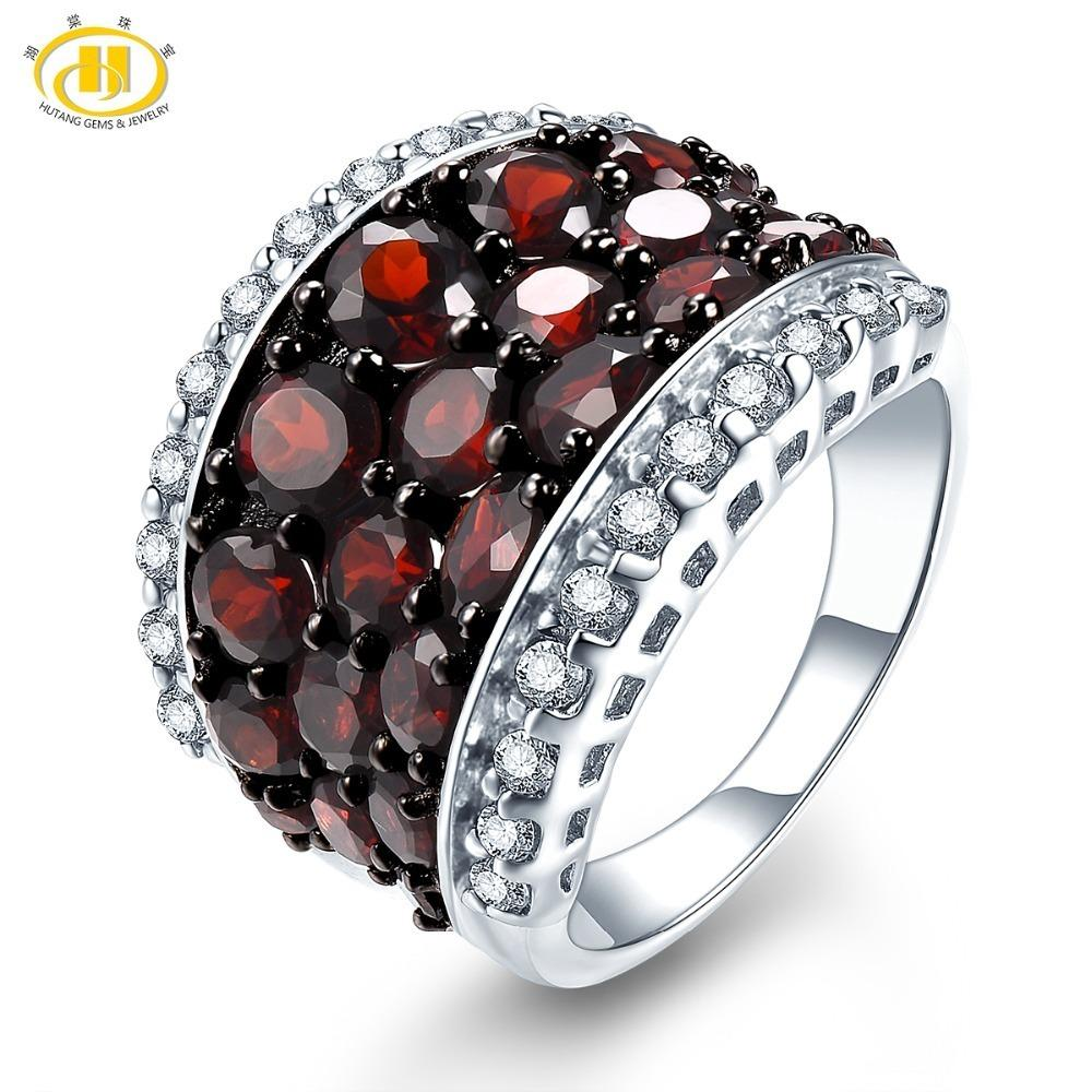 6c3f24342 2019 Hutang Wedding Rings Natural Garnet Topaz Gemstone 925 Sterling Silver  Ring Fine Stone Jewelry For Women Girls Best Gift New C19042001 From  Xiao0003, ...
