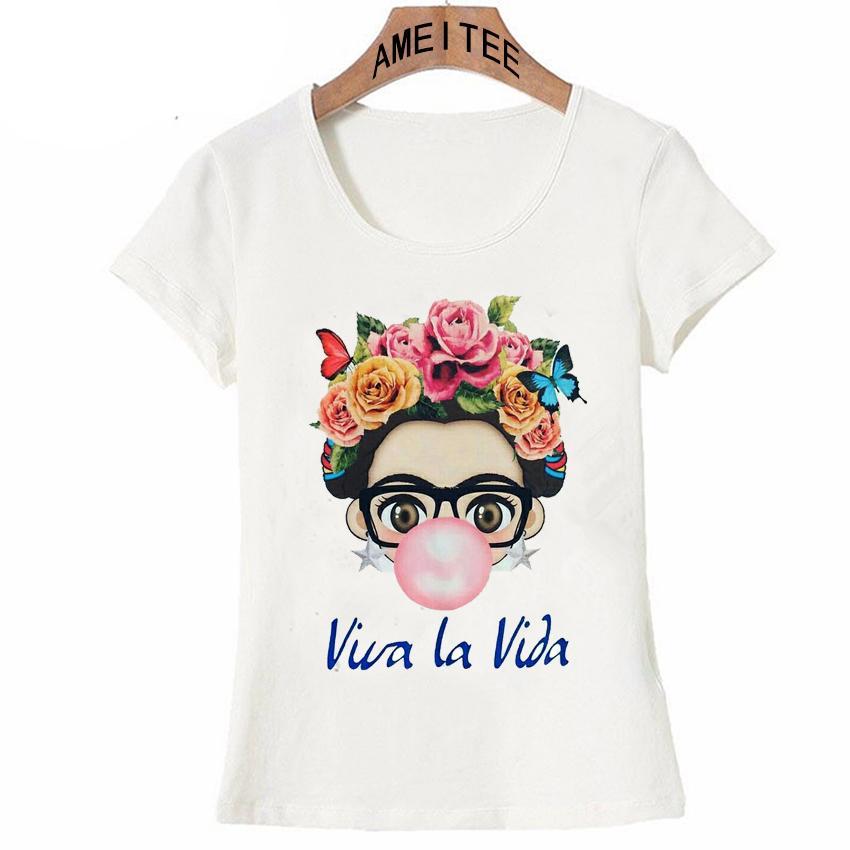 f0485021a1 Compre Carismática Frida Kahlo Arte De La Historieta Linda Camiseta Verano  Mujeres Lindas Camiseta Nuevo Diseño Tops Chica T Shirt Señoras Camisetas  Casual ...
