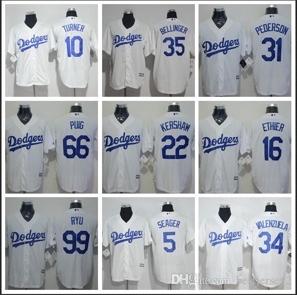 official photos e9e29 52637 Los Angeles jersey Dodgers 35 Cody Bellinger 22 Clayton Kershaw 5 Corey  Seage 42 Jackie35 Bellinger 31 Pederson White jerseys Stitched