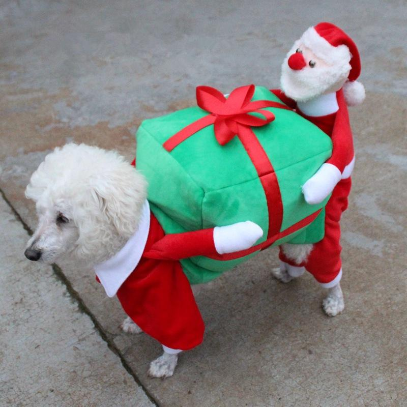 Christmas Pet Costumes.Christmas Dog Costumes Funny Santa Claus Dog Clothes Gift Puppy Fleece Coat Warm Winter Pet Clothes