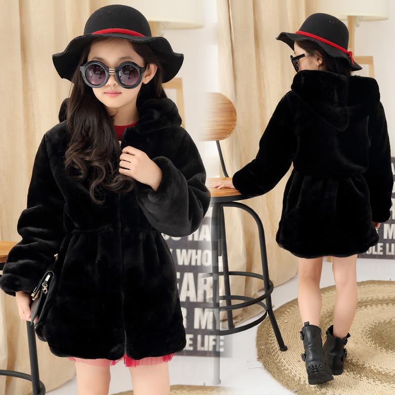 4caaba4ef614 2019 Girls Winter Coat Faux Fur Fleece Kids Girls Coats Warm Jacket ...