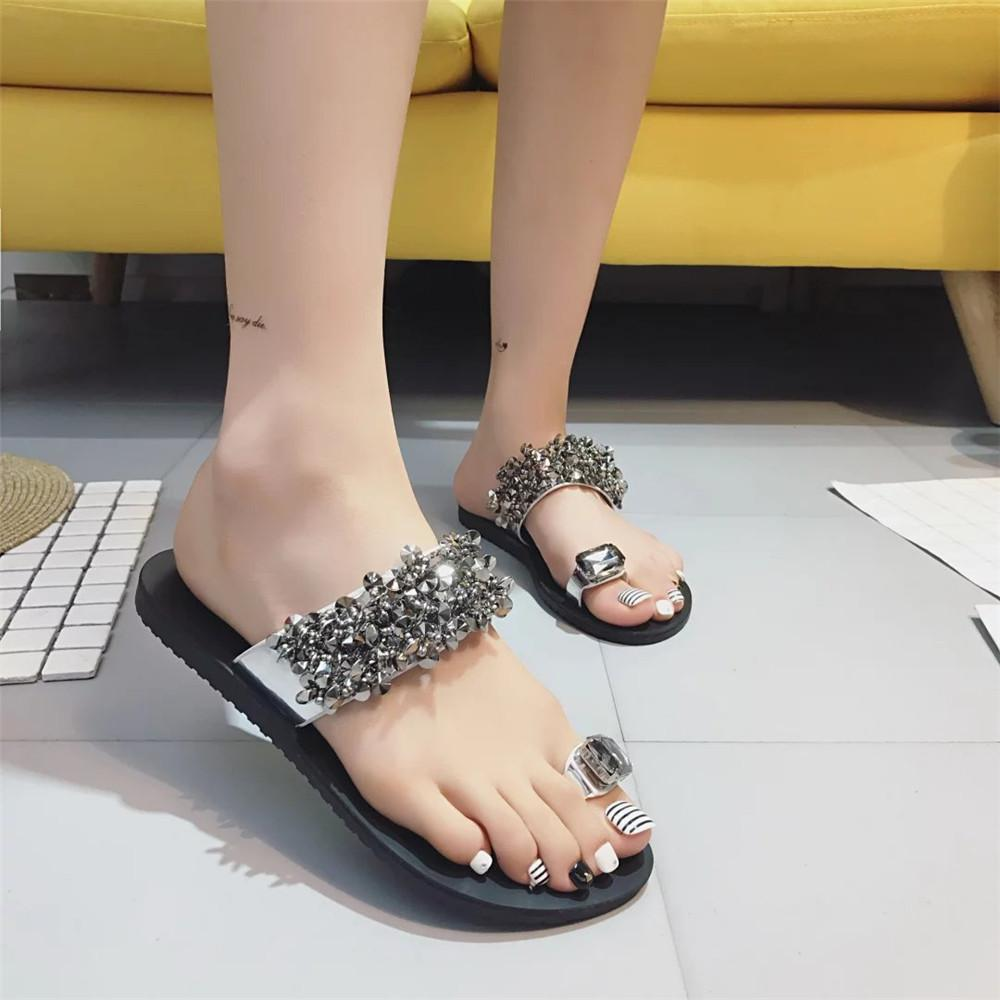 Hot Sandales-Les Femmes Tongs New Summer Fashion strass Compensées Chaussures Crystal Lady Chaussures Casual Taille 35-39 Femmes