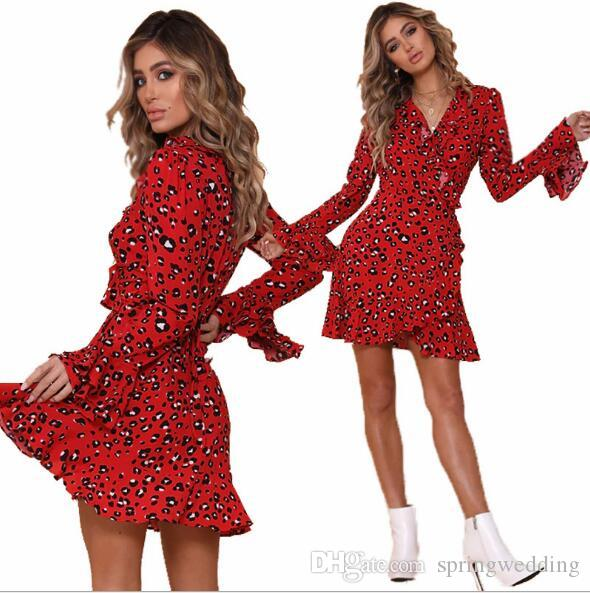 f7627e2d924851 Sexy Summer Leopard Printed Long Sleeves Casual Dresses Bohemian Boho  Holiday Beach Party Dress Cheap FS5350 Sweaters Casual Dresses Women  Clothes Online ...