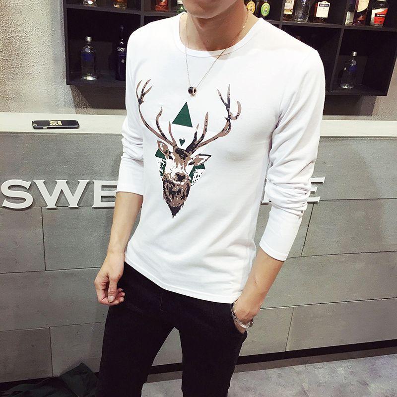 0778d6c4c8abf1 Men T Shirt 2019 New Fashion O Neck Long Sleeves Slim Prints T Shirt Man  Casual Undershirt Top Tees T Shirt A Day Retro Tee Shirts From Godbless002