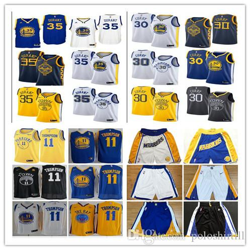 size 40 28beb 56471 2018-2019 new season boys Golden state 35 durant 30 Stephen curry 11  Thompson city jersey pants