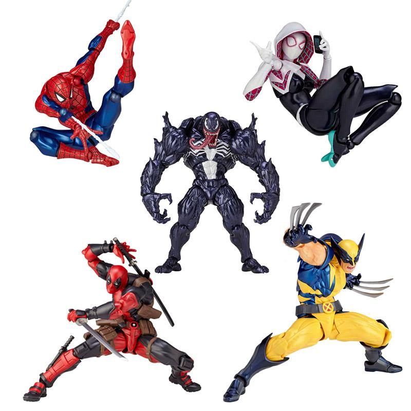 Marvel 16cm Univers Super Heros Deadpool Venom Spider Man Spider Gwen Iron Man Magneto Carnage Joint Movement Action Figure Toys