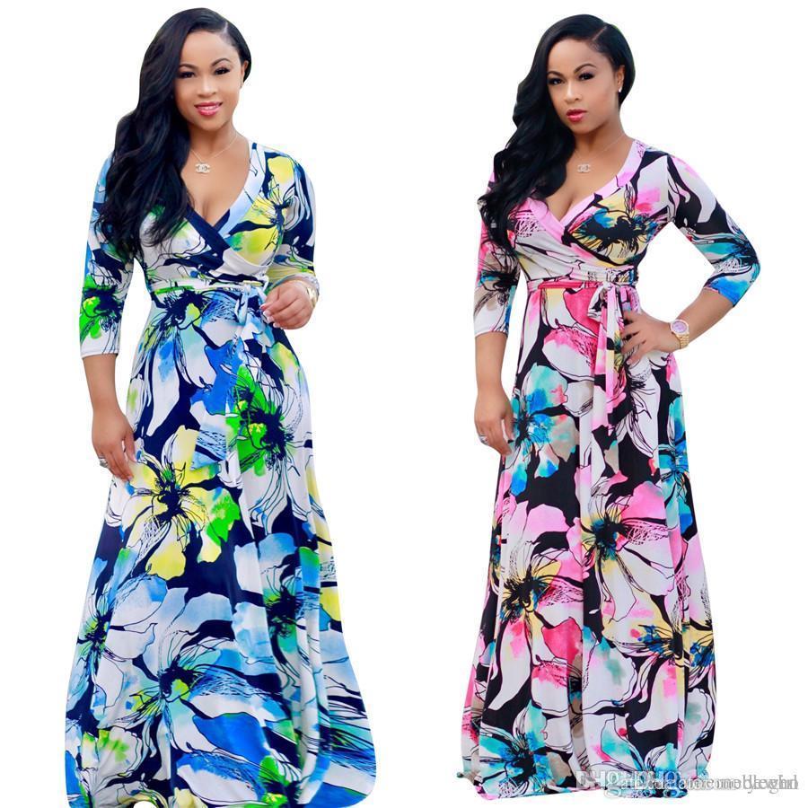 Women Long Dresses Deep V Neck A Line Maxi Dress Summer Flower Print Long  Cuff Sleeve Surplice Wrap Dress FZ 076 Light Purple Dresses For Juniors  Knit ... d33637c28