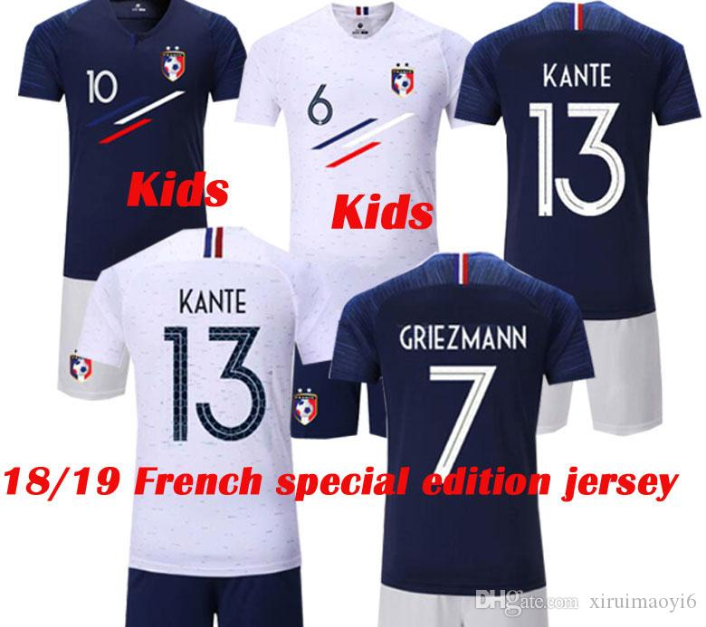 18 19 New French Special Edition POGBA MBAPPE Kids Soccer Jersey 2018  GRIEZMANN Football Shirt GIROUD Champion Du Monde Boy Maillot De Foot Kids  Soccer ... 74cf9e5c7