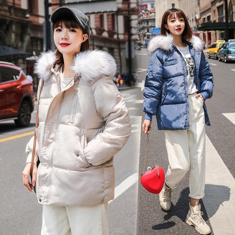 Women Winter Warm Real Fur Collar Hooded Jacket Korea Down Coat Outdoor College