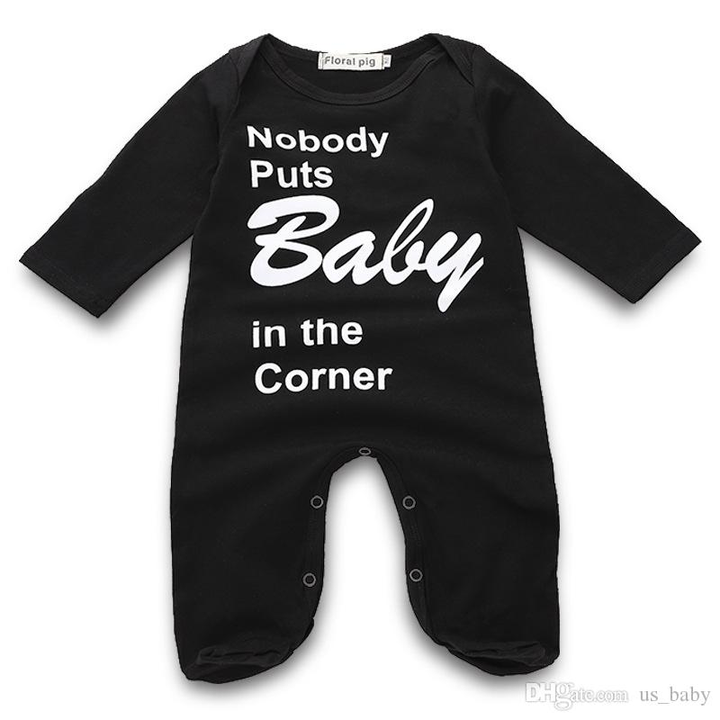 7e13f7736 INS Baby Black Long Sleeve Rompers Infant Unisex Letter Print ...