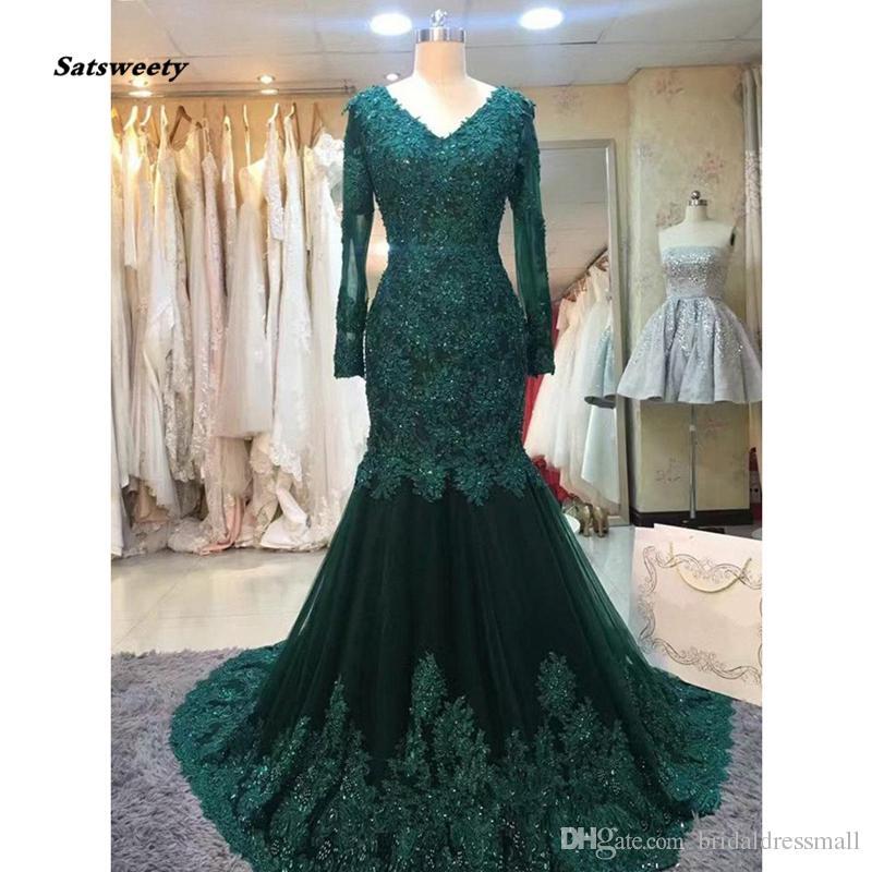 Abiye Dark Green Mermaid Evening Dresses Full Sleeves Lace Appliques  Crystal Evening Gowns Plus Size Vestidos De Formatura Maxi Evening Dress  Monsoon ... 020cf8dd508d