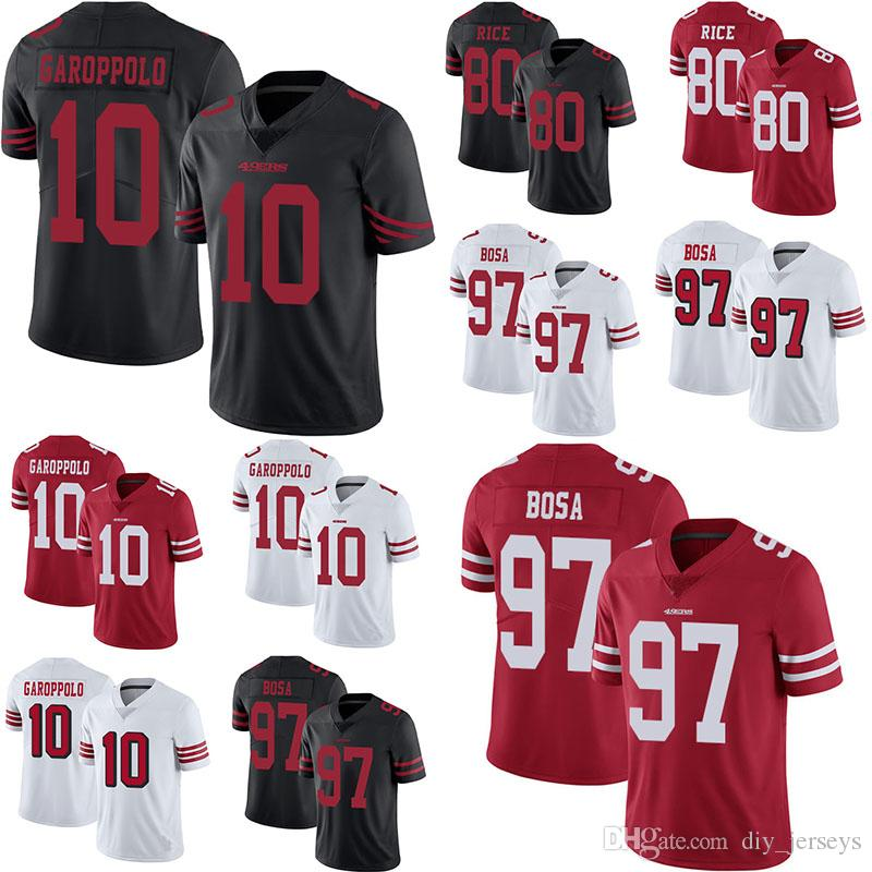online store 29afd b57ec New Style 10 Garoppolo Jersey 80 Rice 97 Bosa Black White Red Mens Stitched  Untouchable Limited Jerseys