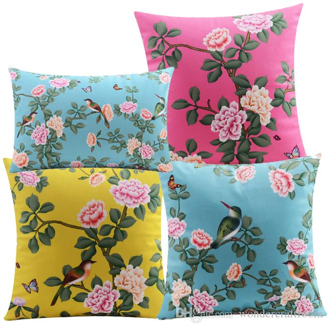 Chinese Traditional Birds And Flowers Art Cushion Covers Floral - Decorative-floral-print-chairs-from-floral-art
