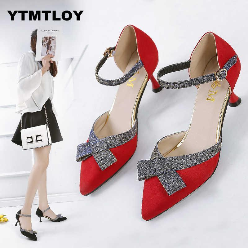 ded93631a5a Designer Dress Shoes Women Pumps Mid Heel Pump Ladies Pointed Toe Casual  Sandals High Heels Wedding Sexy Pumps Butterfly-knot Summer