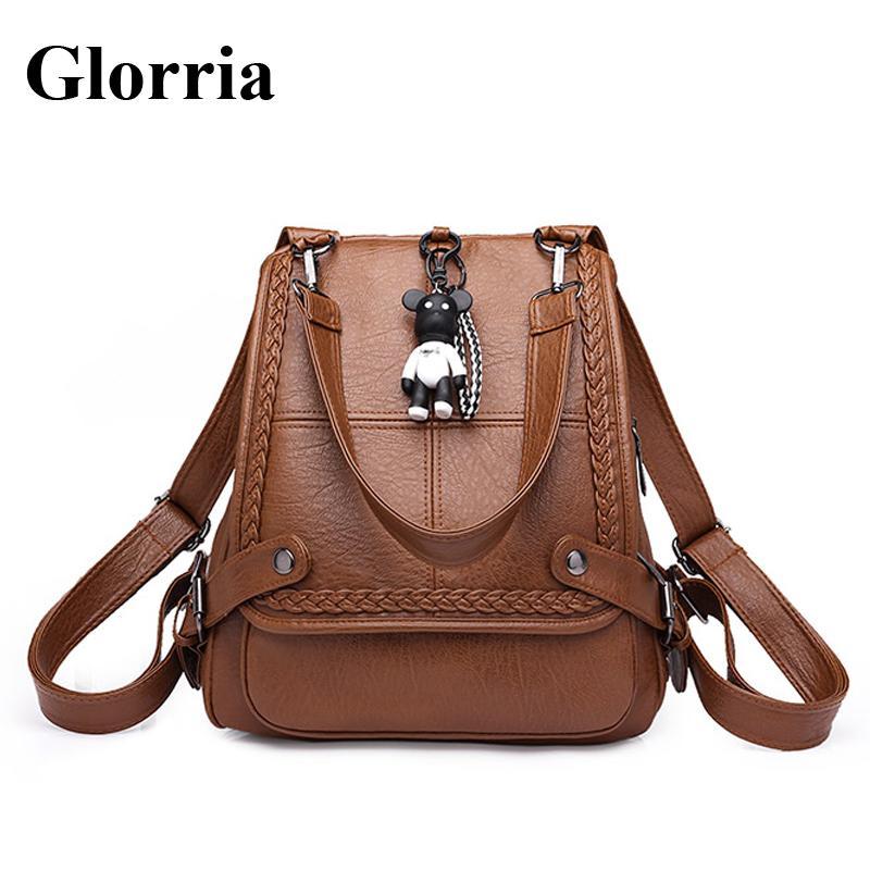Glorria Women Leather Big Backpack 2018 Casual Shopping Bag Teenager Girl  Big Capacity School Bag Female Anti Theft Backpack Sac Backpacks For Women  ... b97268208a2ed