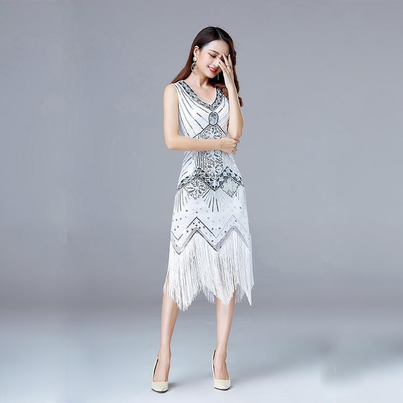 a8ddab0c6ac 2019 1920s Vintage Flapper Great Gatsby Party Dress V Neck Sleeveless Sequin  Beaded Style Style Tassel Flapper Vestidos Feminina 1920s From Viladancing