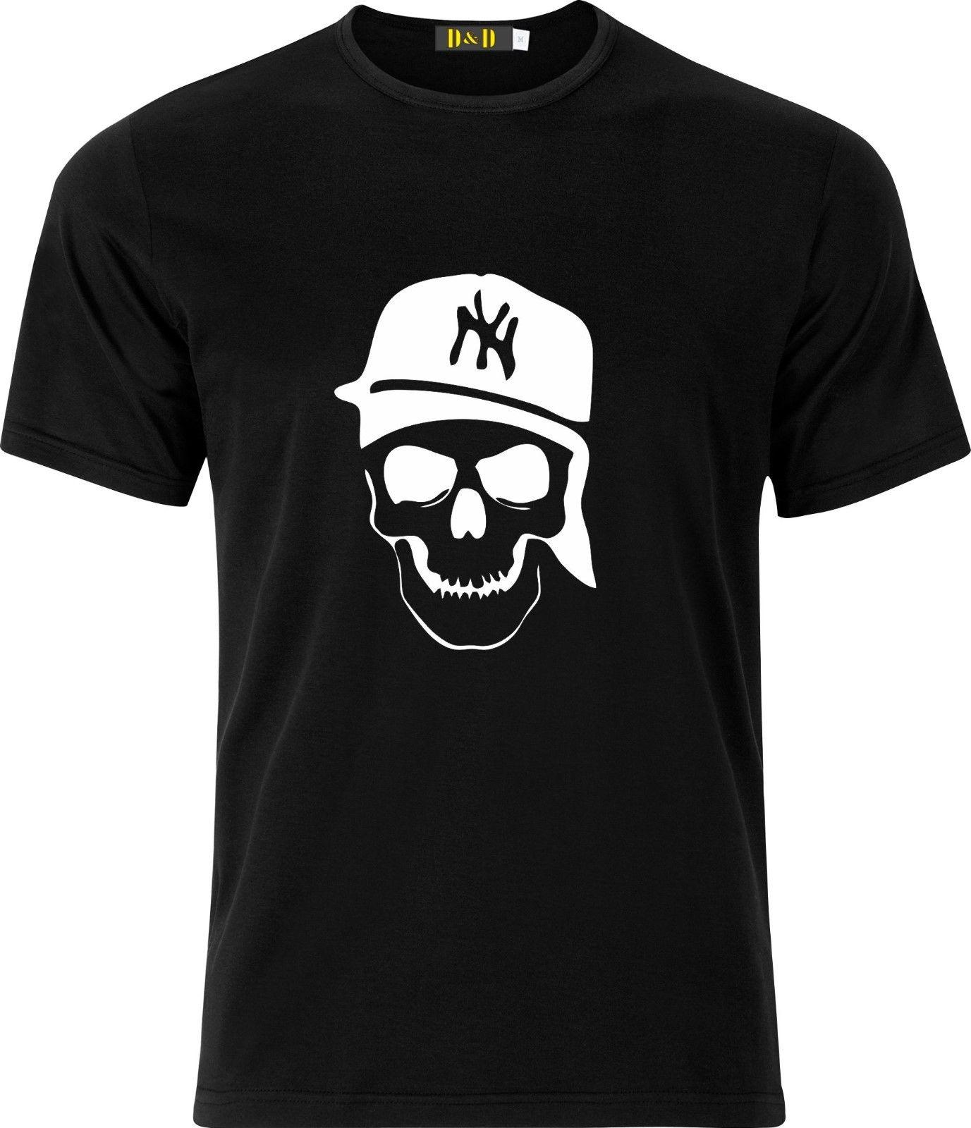 NEW YORK GANSTER SKULL AND HAT HIP HOP FUNNY HUMOR GIFT XMAS COTTON T SHIRT