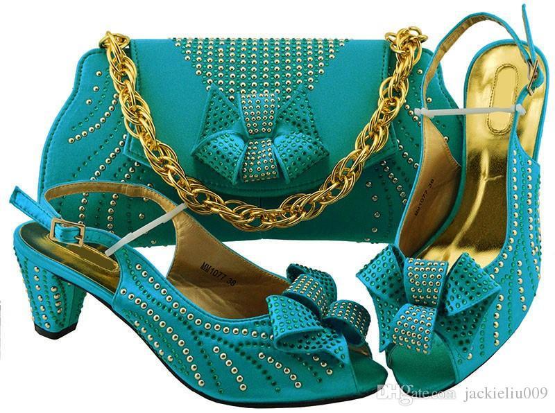Most Popular Sky Blue Women Kitten Heel Shoes with Rhinestone Bowtie Style African  Shoes Match Handbag Set for Dress MM1077 Women Pumps African Shoes Match ... 169c9711879e