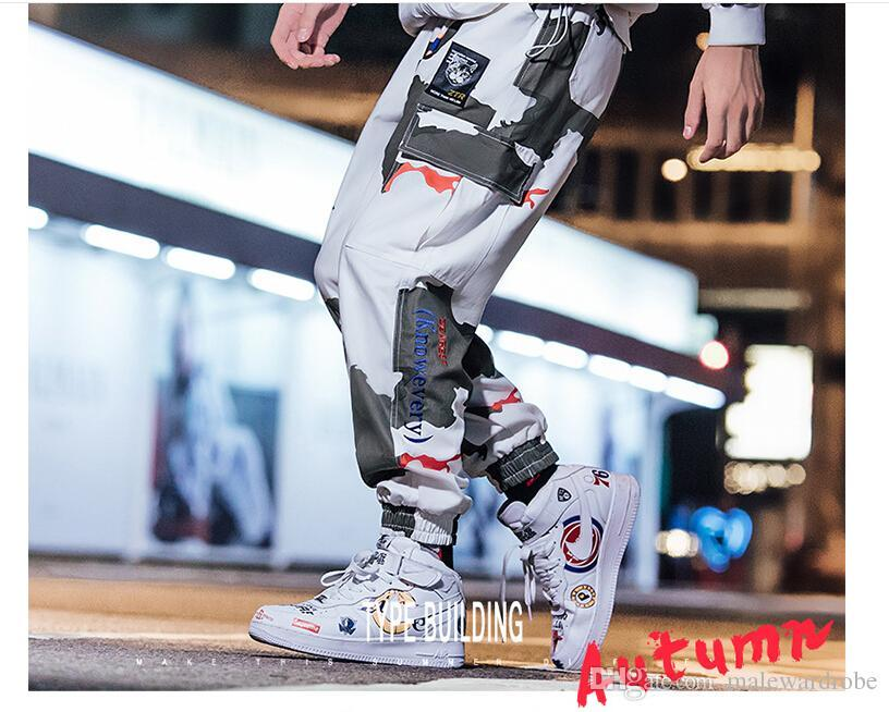 2019 New Fashion Men's Side Pockets Cargo Harem Pants Hip Hop Casual Male Tatical Joggers Trousers Fashion Casual Streetwear Pants