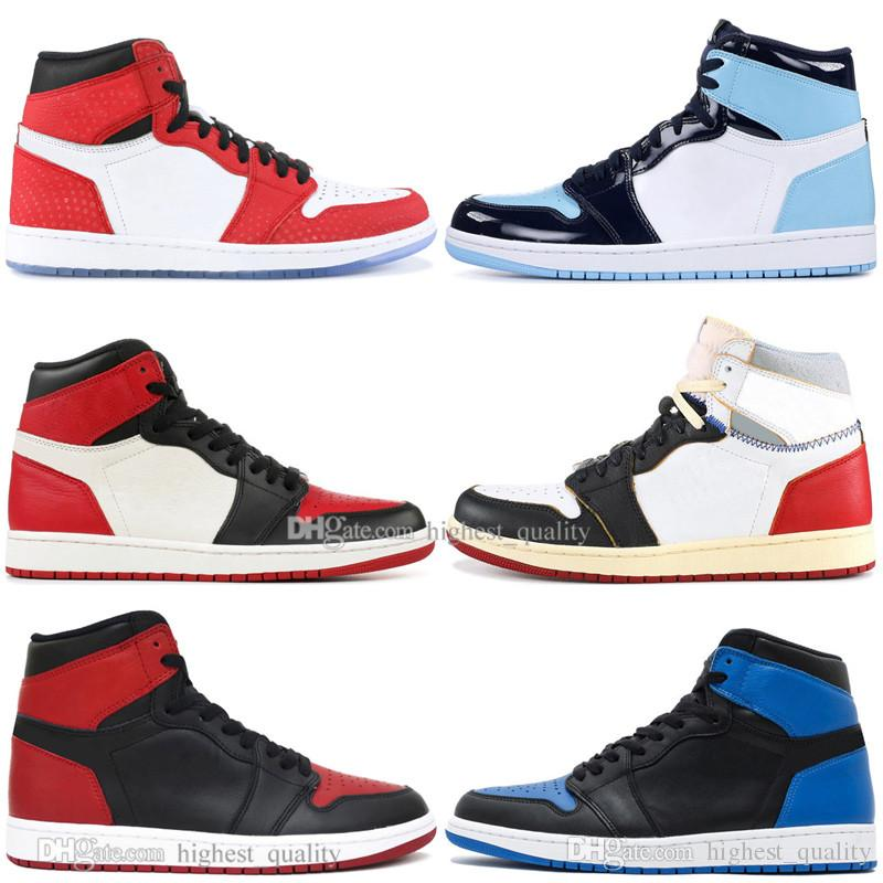 With Box 1 High OG Banned Bred Toe Spider-Man UNC 1s top 3 Mens Basketball Shoes Homage To Home Royal Blue Boys Men Sports Designer Sneakers
