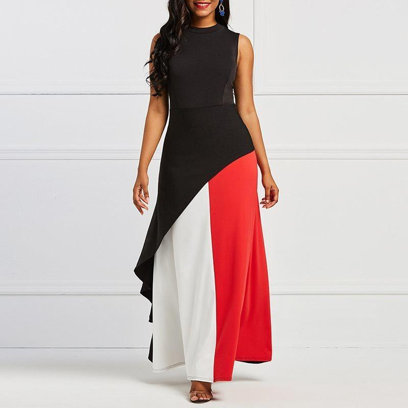 80f965fc318 2019 Evening Party Date Beach High Street Black Red White Color Block Maxi  Dress Robe Women Office Lady Ruffle Big Swing Long Dresses C19041501 From  ...