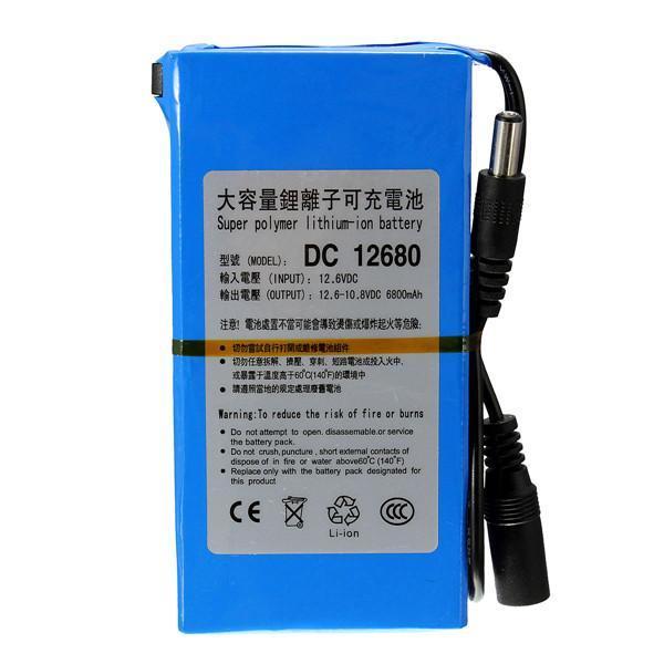 6800mAh para DC 12V Interruptor recargable Super Protable Batería de iones de litio Enchufe de la UE para cámaras de videocámaras